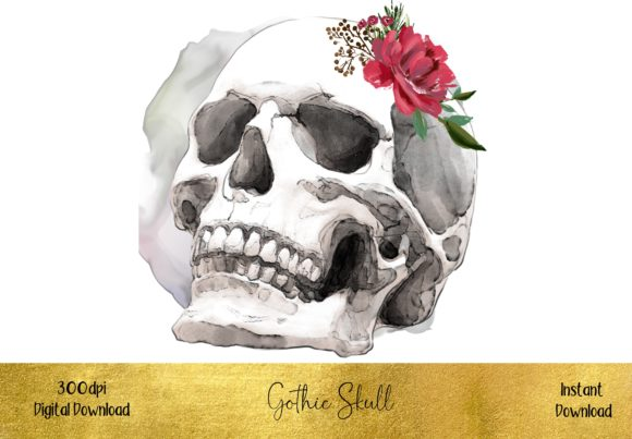 Gothic Floral Skull Graphic Illustrations By STBB