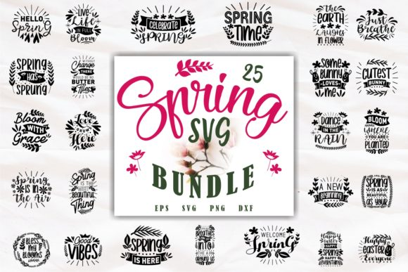 Print on Demand: Inspiring Spring Quotes SVG Bundle Graphic Print Templates By Universtock