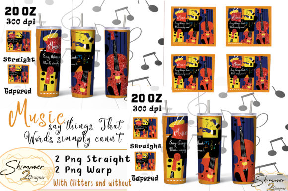 Print on Demand: Music Says Words Sublimation Tumbler Graphic Print Templates By shimmer2designer
