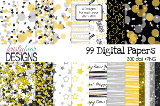 Print on Demand: New Year Digital Papers Graphic Patterns By kristybear DESIGNS
