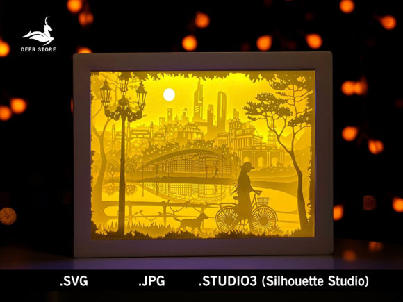 Paper Cut Light Box Template Graphic 3D Shadow Box By Deer store