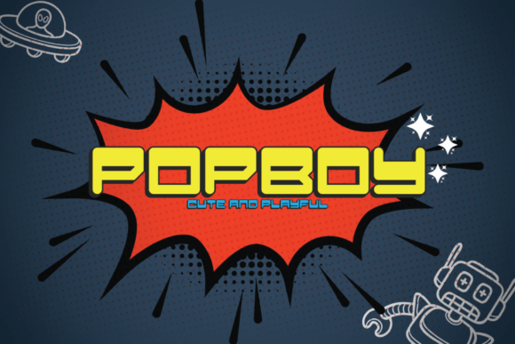Print on Demand: Pop Boy Display Font By Line creative