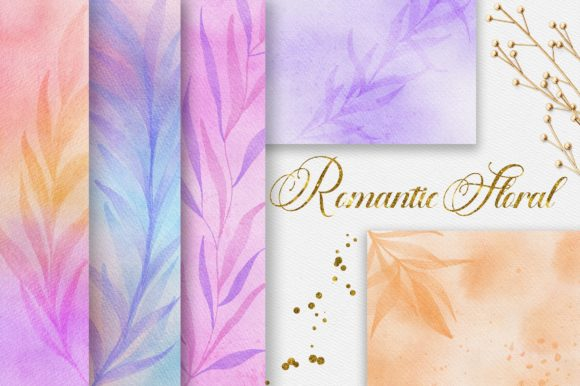 Romantic Floral Watercolor Digital Paper Graphic Backgrounds By PinkPearly