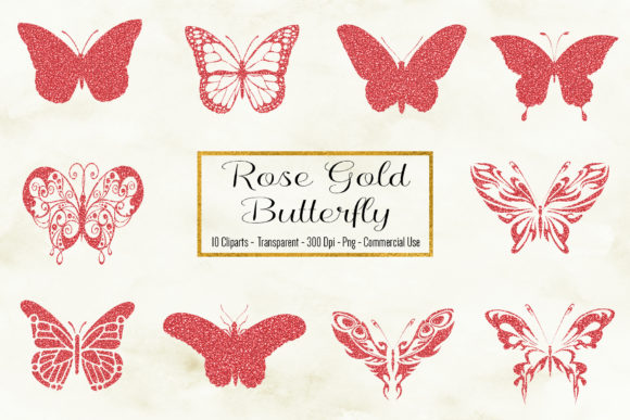 Rose Gold Butterfly Clipart Graphic Objects By BonaDesigns