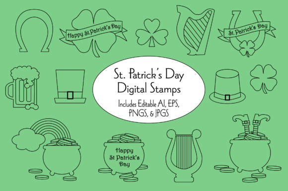 Saint Patrick's Day Digital Stamps Graphic Illustrations By Melissa Held Designs