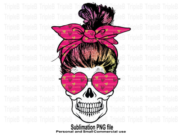 Print on Demand: Skull Funny Valentine's Glitter Hair Sub Graphic Crafts By TripleBcraft