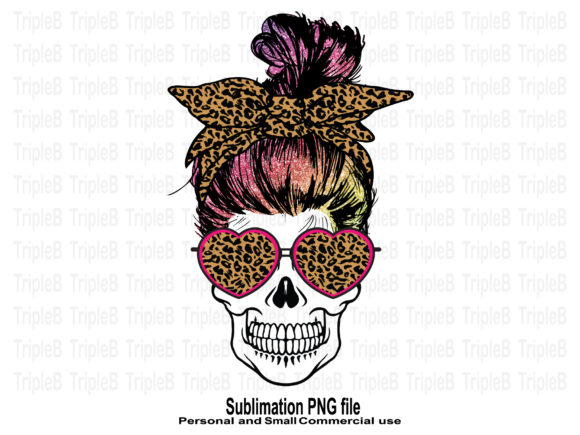 Print on Demand: Skull Valentine's Day Glitter Hair Sub Graphic Crafts By TripleBcraft