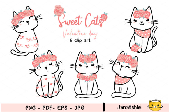 Sweet Valentine Cats with Flower Clipart Graphic Illustrations By Janatshie