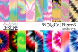 Print on Demand: Tie Dye Digital Paper Grafik Hintegründe von kristybear DESIGNS