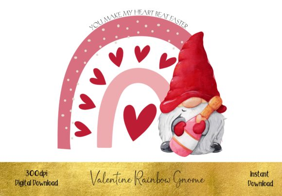 Valentine Rainbow Gnome Graphic Illustrations By STBB
