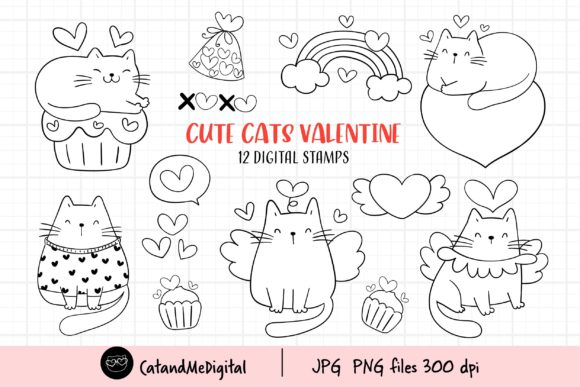 Valentine Cat Digital Stamp Clipart. Graphic Illustrations By CatAndMe