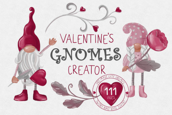 Valentines Gnome Collection Creator Graphic Illustrations By lena-dorosh