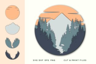 Wall Art 3D,  Layered Mountain Svg Graphic 3D SVG By 2dooart