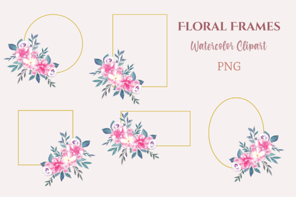 Watercolor Clipart Ten Floral Frames Graphic Illustrations By roosmom