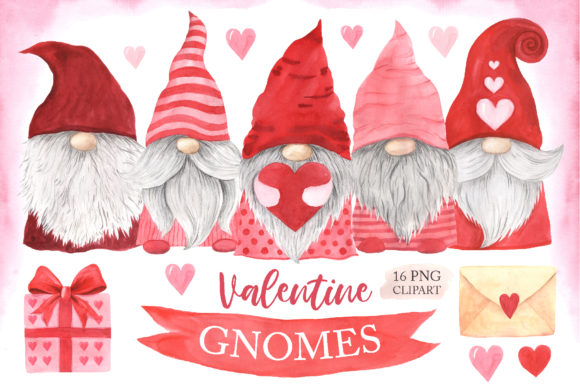 Watercolor Valentine Day Gnomes Clipart Graphic Illustrations By Larysa Zabrotskaya