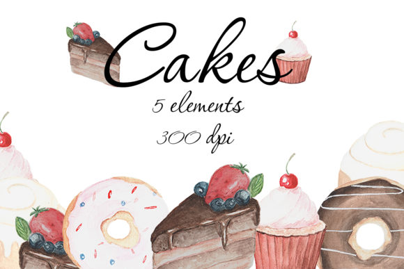 Watercolor Cake Clipart, Cake PNG, Graphic Illustrations By SleptArt