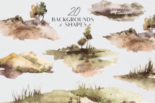Print on Demand: Watercolor Landscape Clipart Set Graphic Illustrations By Tiana Geo
