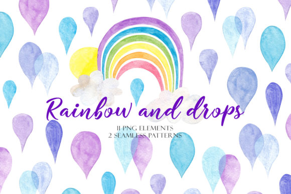 Print on Demand: Watercolor Rainbow and Drops Graphic Illustrations By TanyaPrintDesign