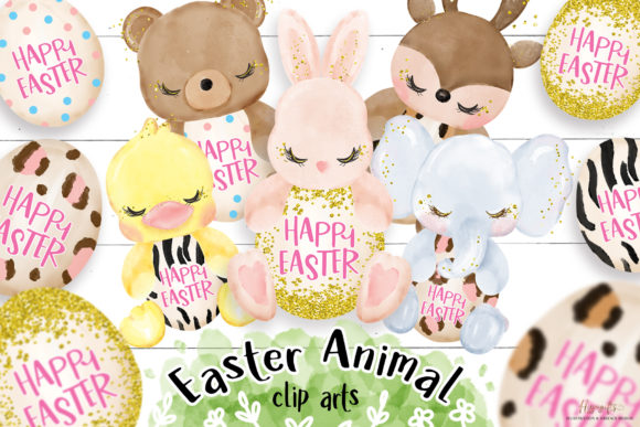 Easter Clipart, Easter Animal Clipart Grafik Illustrationen von Hippogifts