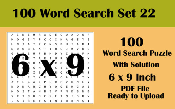 100 Word Search Puzzle 6x9 KDP Volume 22 Graphic KDP Interiors By Seven Elephant