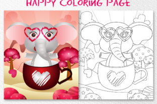 A Cute Elephant - Coloring Pages Graphic Graphic Coloring Pages & Books Kids By wijayariko