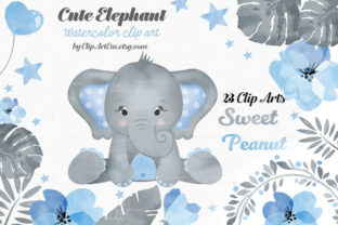 Print on Demand: Baby Elephant Purple Girl 23 PNG Images Graphic Illustrations By clipArtem