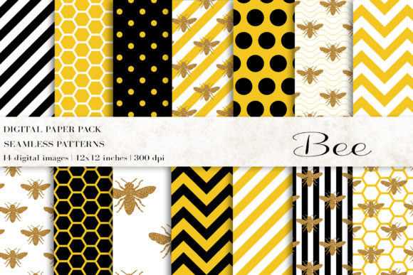 Bee Digital Papers Graphic Patterns By BonaDesigns