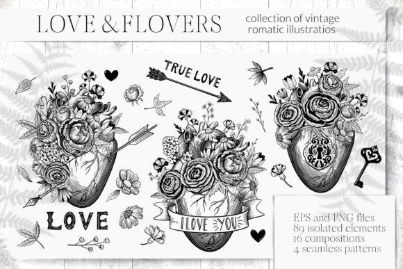 Collection of Vintage Romantic Elements Graphic Illustrations By y.kachan87