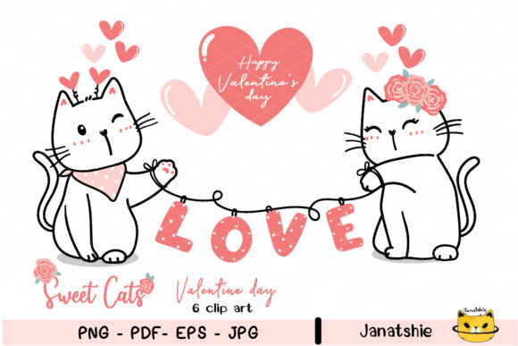 Couple Love Cat Valentine Clipart PNG Graphic Illustrations By Janatshie