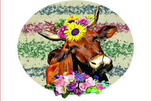 Cow Floral,Cow Sublimation,clipart,png Graphic Graphic Templates By AlaBala