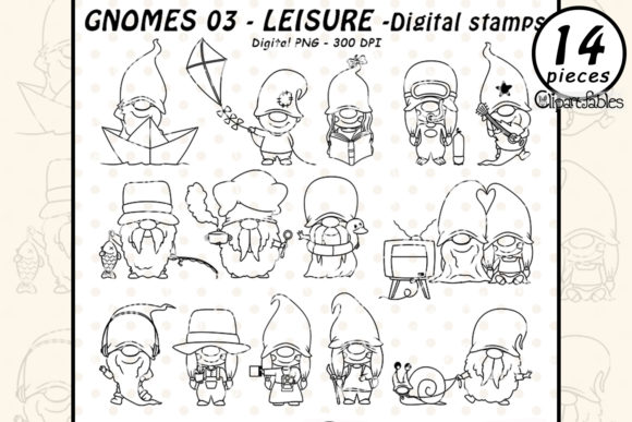 Cute GNOME LEISURE DIGITAL STAMPS Graphic Illustrations By clipartfables
