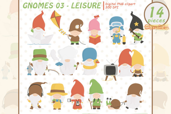 Cute GNOME LEISURE Clipart, Free Time Graphic Illustrations By clipartfables