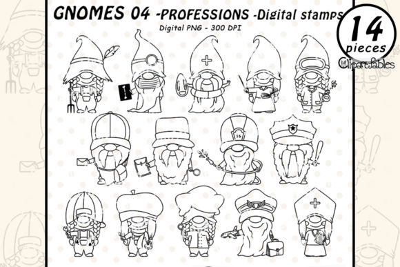 Cute GNOME PROFESSION - DIGITAL STAMPS Graphic Illustrations By clipartfables