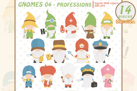 Cute GNOME PROFESSIONS Clipart Graphic Illustrations By clipartfables