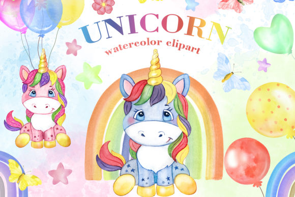 Cute Unicorns with Rainbow Clipart. Graphic Add-ons By EvArtPrint