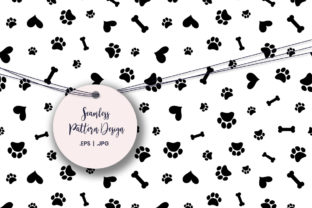 Print on Demand: Dog Paw, Bone and Heart Digital Paper Graphic Patterns By doridodesign