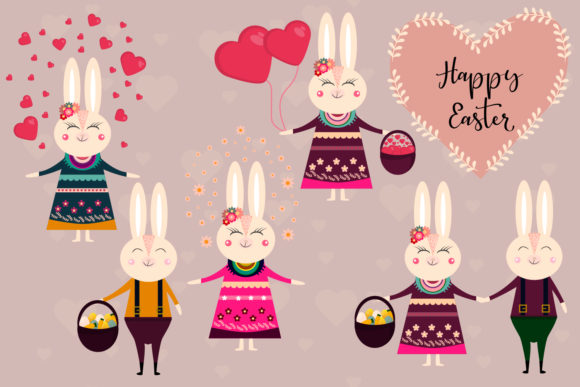 Easter Bunny Character Graphic Illustrations By Igraphic Studio