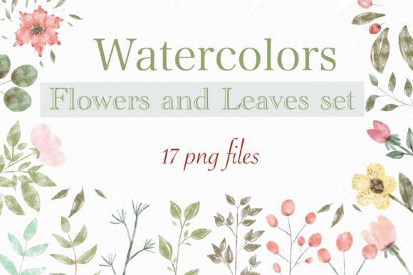Flower Watercolor-Flowers and Leaves Set Graphic Illustrations By jennythip