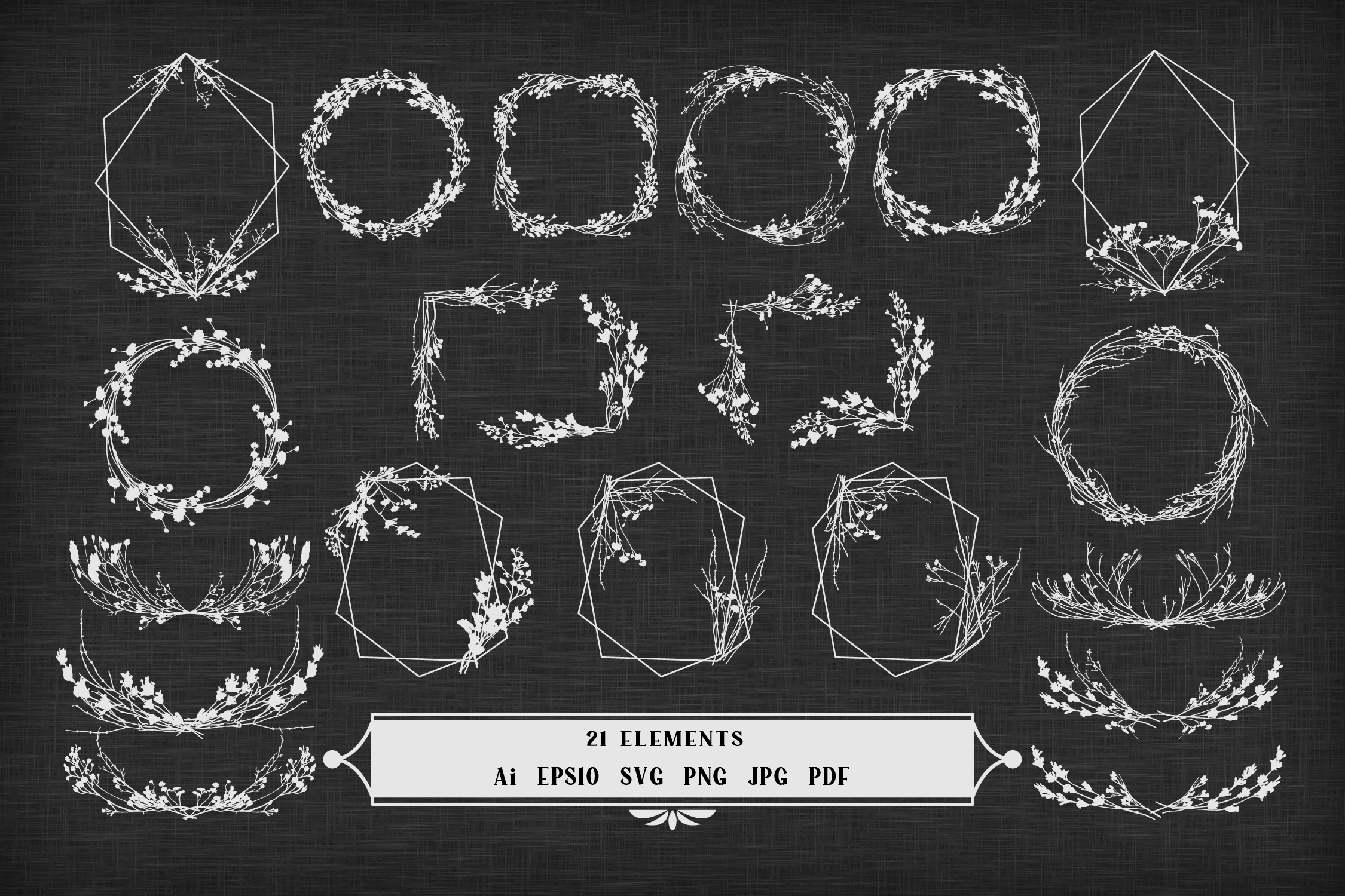 Frames from Silhouettes of Dried Plants SVG File