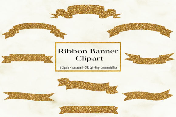 Glitter Ribbon Banner Clipart Graphic Objects By BonaDesigns