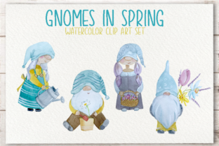 Print on Demand: Gnomes in Spring Watercolor Clip Art Set Graphic Illustrations By tatibordiu