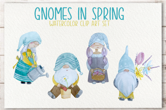 Gnomes in Spring Watercolor Clip Art Set Graphic Illustrations By tatibordiu