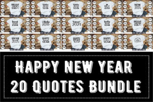 Print on Demand: Happy New Year 20 Quotes Bundle Grafik Druck-Templates von Design_store