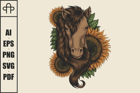 Print on Demand: Horse Head Sunflower Vector Illustration Graphic Illustrations By Andypp