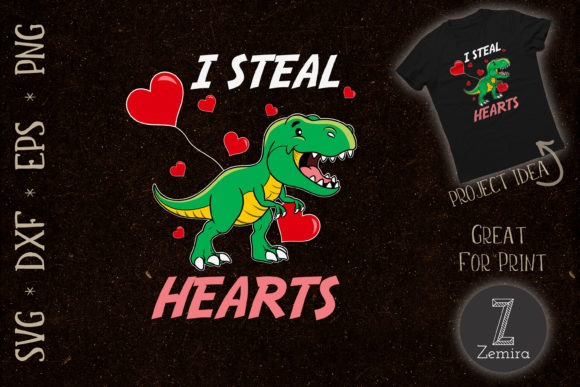 Print on Demand: I Steal Hearts Valentines Day Dinosaur Graphic Print Templates By Zemira