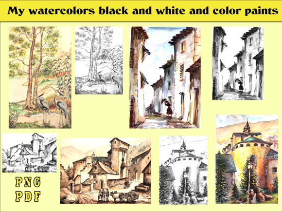 Print on Demand: My Watercolors Black and White and Color Graphic Coloring Pages & Books Adults By kdp Edition