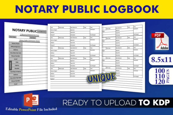 Print on Demand: Notary Public Logbook | KDP Interior Graphic KDP Interiors By Beast Designer