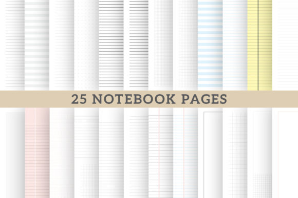 Notebook Pages for School Digital Papers Graphic Print Templates By AmitDebnath