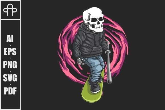 Print on Demand: Skull Skateboard Vector Illustration Graphic Illustrations By Andypp