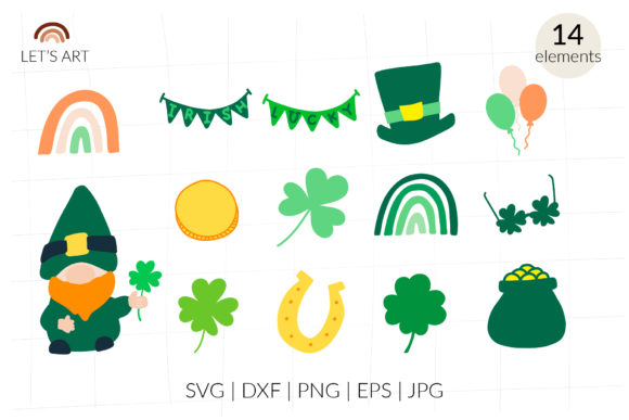 St Patrick's Day Svg Clipart, Gnome Svg Graphic Illustrations By cyrilliclettering